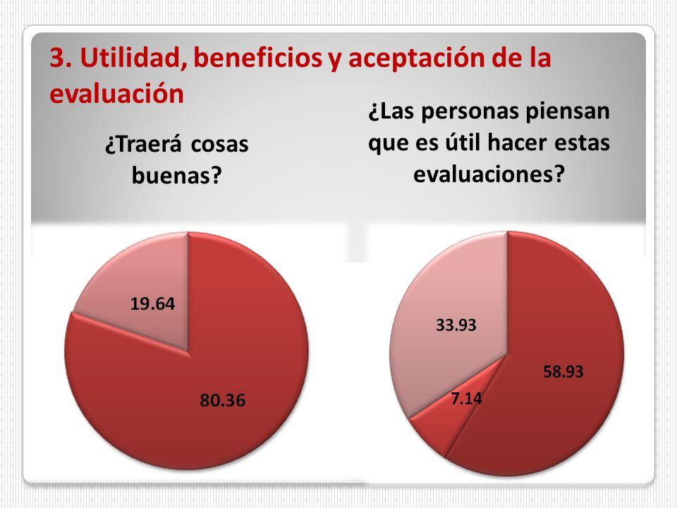 3. Utilidad, beneficios y aceptación de la evaluación ¿Traerá cosas buenas? ¿Las personas piensan que es útil hacer estas evaluaciones?