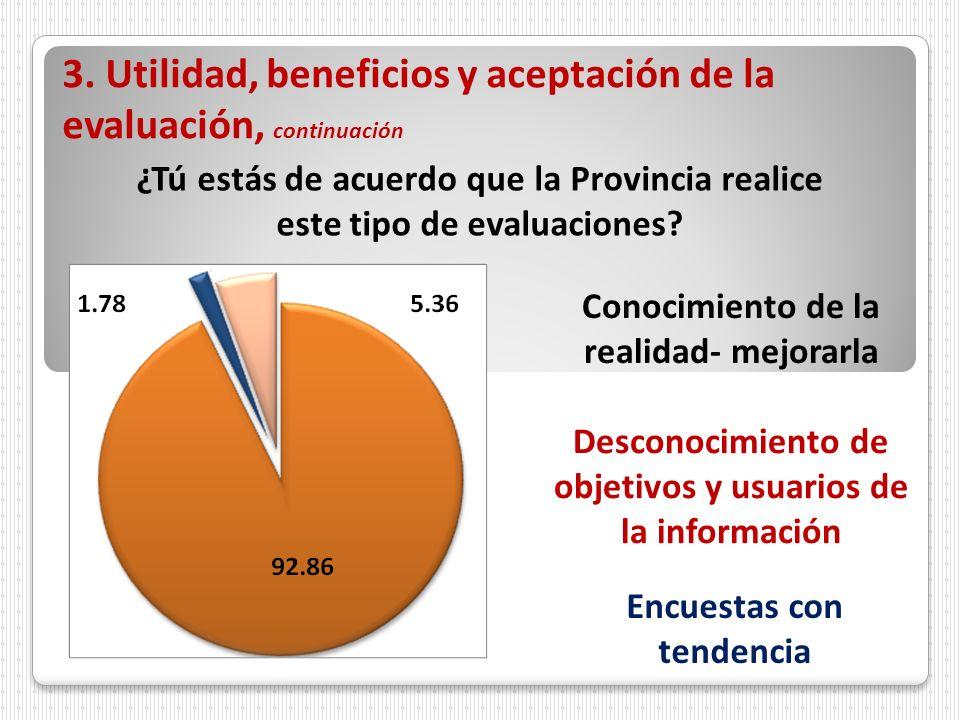 3. Utilidad, beneficios y aceptación de la evaluación, continuación ¿Tú estás de acuerdo que la Provincia realice este tipo de evaluaciones? Conocimie