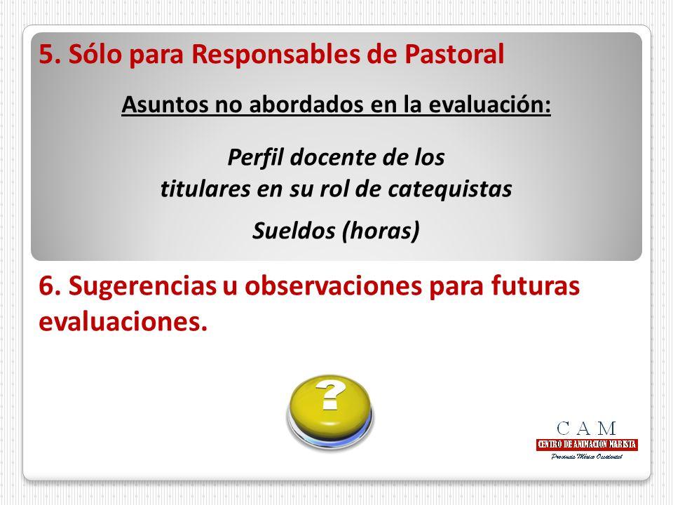5. Sólo para Responsables de Pastoral Asuntos no abordados en la evaluación: Perfil docente de los titulares en su rol de catequistas Sueldos (horas)