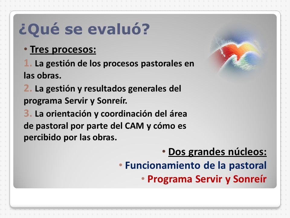 ¿Qué se evaluó? Dos grandes núcleos: Funcionamiento de la pastoral Programa Servir y Sonreír Tres procesos: 1. La gestión de los procesos pastorales e