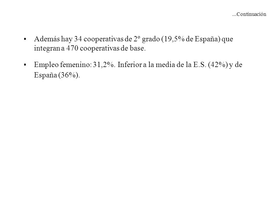 ...Continuación Además hay 34 cooperativas de 2º grado (19,5% de España) que integran a 470 cooperativas de base. Empleo femenino: 31,2%. Inferior a l