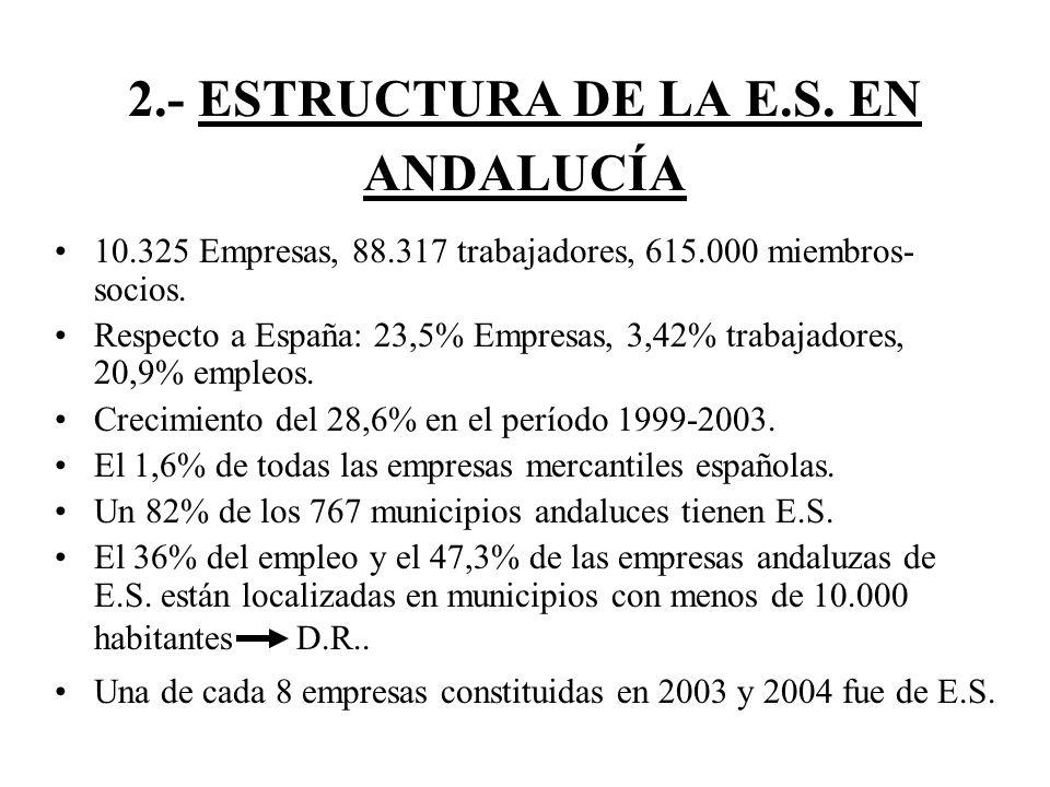 2.- ESTRUCTURA DE LA E.S. EN ANDALUCÍA 10.325 Empresas, 88.317 trabajadores, 615.000 miembros- socios. Respecto a España: 23,5% Empresas, 3,42% trabaj
