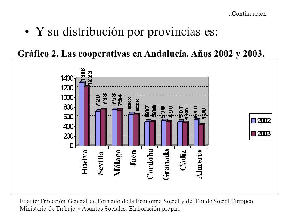 ...Continuación Y su distribución por provincias es: Gráfico 2. Las cooperativas en Andalucía. Años 2002 y 2003. Fuente: Dirección General de Fomento