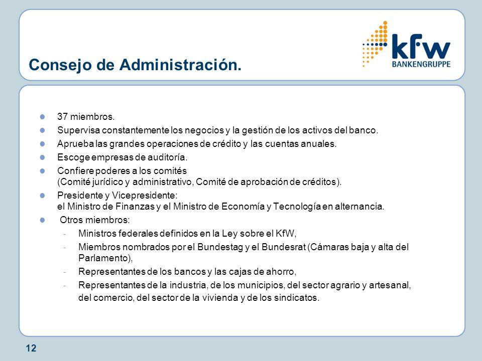 12 Consejo de Administración. 37 miembros. Supervisa constantemente los negocios y la gestión de los activos del banco. Aprueba las grandes operacione