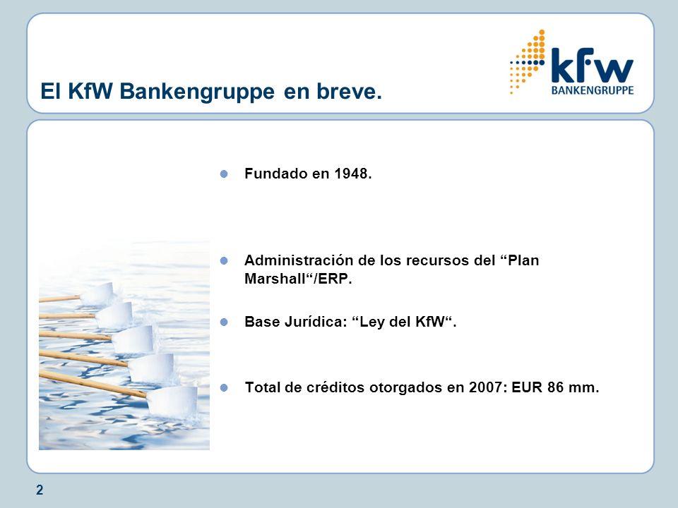 2 El KfW Bankengruppe en breve. Fundado en 1948. Administración de los recursos del Plan Marshall/ERP. Base Jurídica: Ley del KfW. Total de créditos o