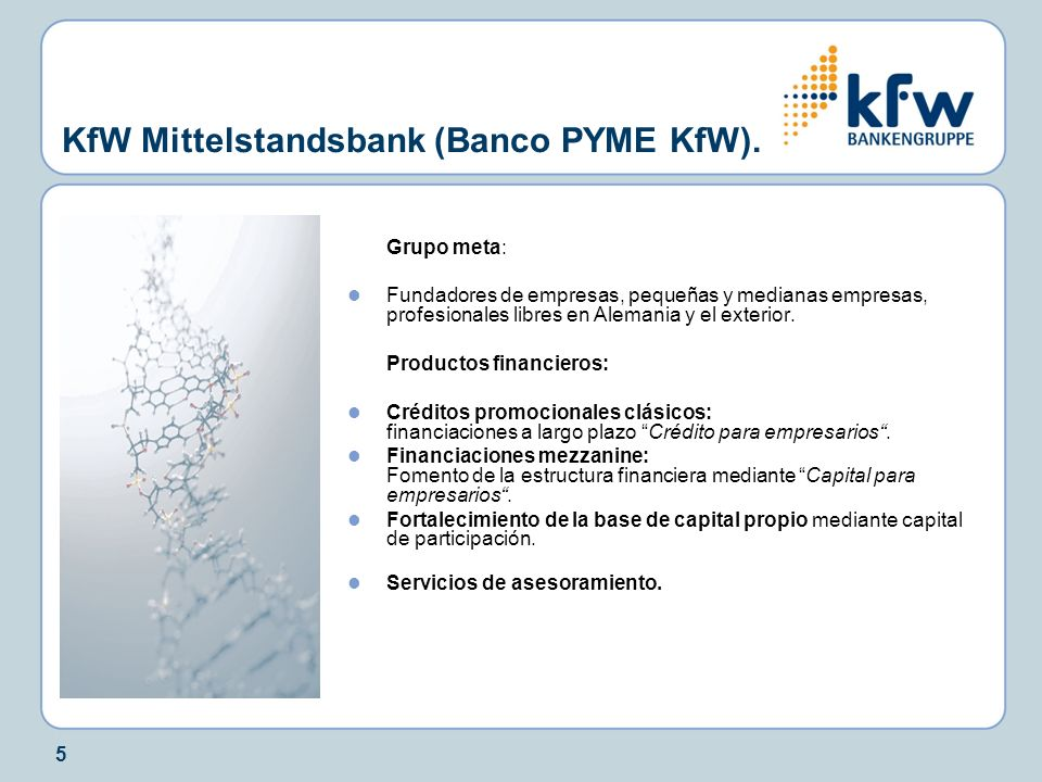 5 KfW Mittelstandsbank (Banco PYME KfW). Grupo meta: Fundadores de empresas, pequeñas y medianas empresas, profesionales libres en Alemania y el exter