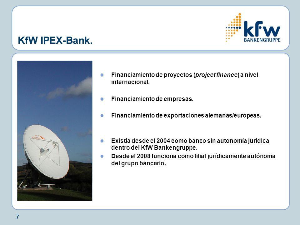 7 KfW IPEX-Bank. Financiamiento de proyectos (project finance) a nivel internacional. Financiamiento de empresas. Financiamiento de exportaciones alem