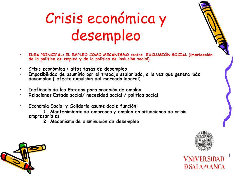 Crisis económica y desempleo IDEA PRINCIPAL: EL EMPLEO COMO MECANISMO contra EXCLUSIÓN SOCIAL ( imbricación de la política de empleo y de la política
