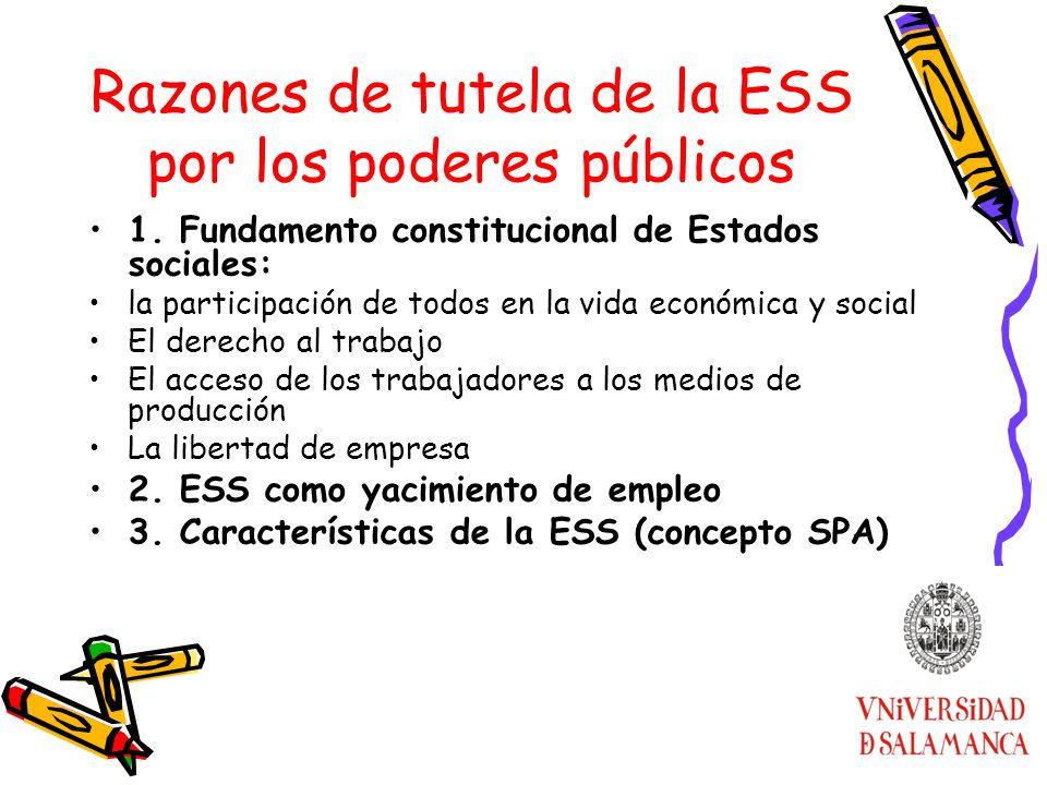 Razones de tutela de la ESS por los poderes públicos 1. Fundamento constitucional de Estados sociales: la participación de todos en la vida económica