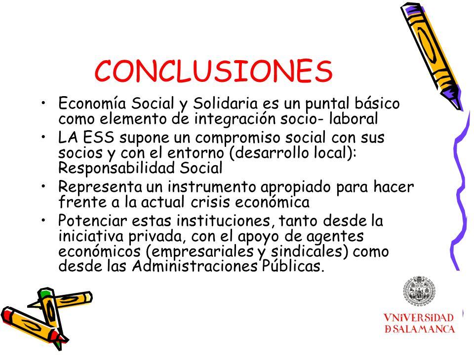 CONCLUSIONES Economía Social y Solidaria es un puntal básico como elemento de integración socio- laboral LA ESS supone un compromiso social con sus so