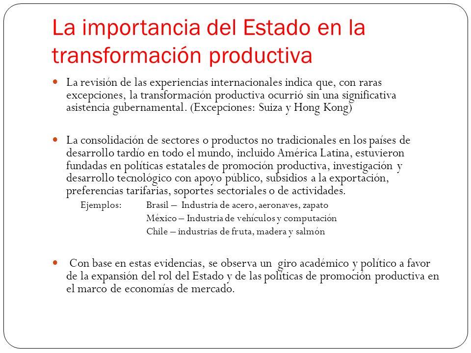 La importancia del Estado en la transformación productiva La revisión de las experiencias internacionales indica que, con raras excepciones, la transformación productiva ocurrió sin una significativa asistencia gubernamental.