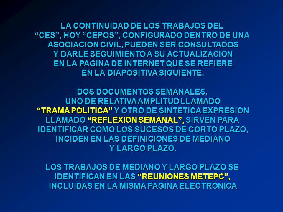 LA CONTINUIDAD DE LOS TRABAJOS DEL CES, HOY CEPOS, CONFIGURADO DENTRO DE UNA ASOCIACION CIVIL, PUEDEN SER CONSULTADOS Y DARLE SEGUIMIENTO A SU ACTUALIZACION EN LA PAGINA DE INTERNET QUE SE REFIERE EN LA DIAPOSITIVA SIGUIENTE.