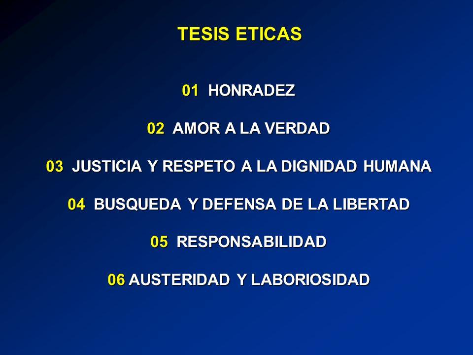 10 ERRADICACION DE LA MISERIA Y LA MARGINACION CON EL ABATIMIENTO SUBSTANCIAL DE LA POBREZA, MEDIANTE LA CREACION DE OPORTUNIDADES DE EDUCACION, TRABAJO Y PROCESOS EFICACES DE MOVILIDAD SOCIAL 08 SEGURIDAD PUBLICA Y SEGURIDAD JURIDICA 07 LIBERTAD Y FOMENTO DE LA EDUCACION EN UN MARCO DE PRINCIPIOS ETICOS Y VALORES 09 ALIMENTACION, SALUD Y VIVIENDA 12 RESPETO A LOS DERECHOS HUMANOS 11 PRESERVACION Y MEJORAMIENTO DEL MEDIO AMBIENTE TESIS SOCIALES
