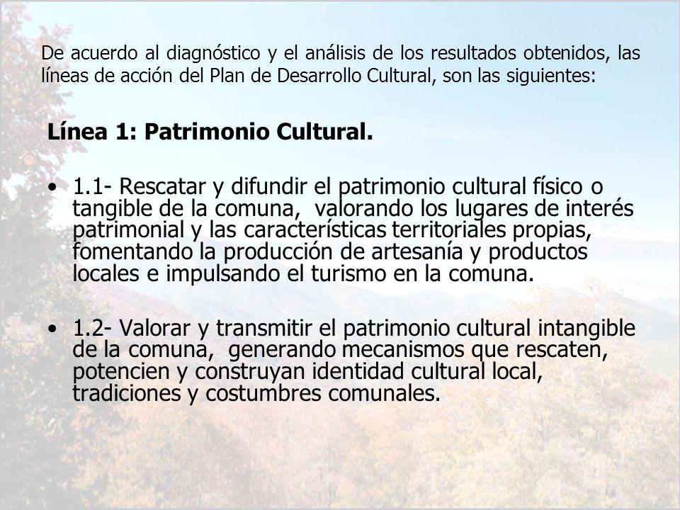De acuerdo al diagnóstico y el análisis de los resultados obtenidos, las líneas de acción del Plan de Desarrollo Cultural, son las siguientes: Línea 1
