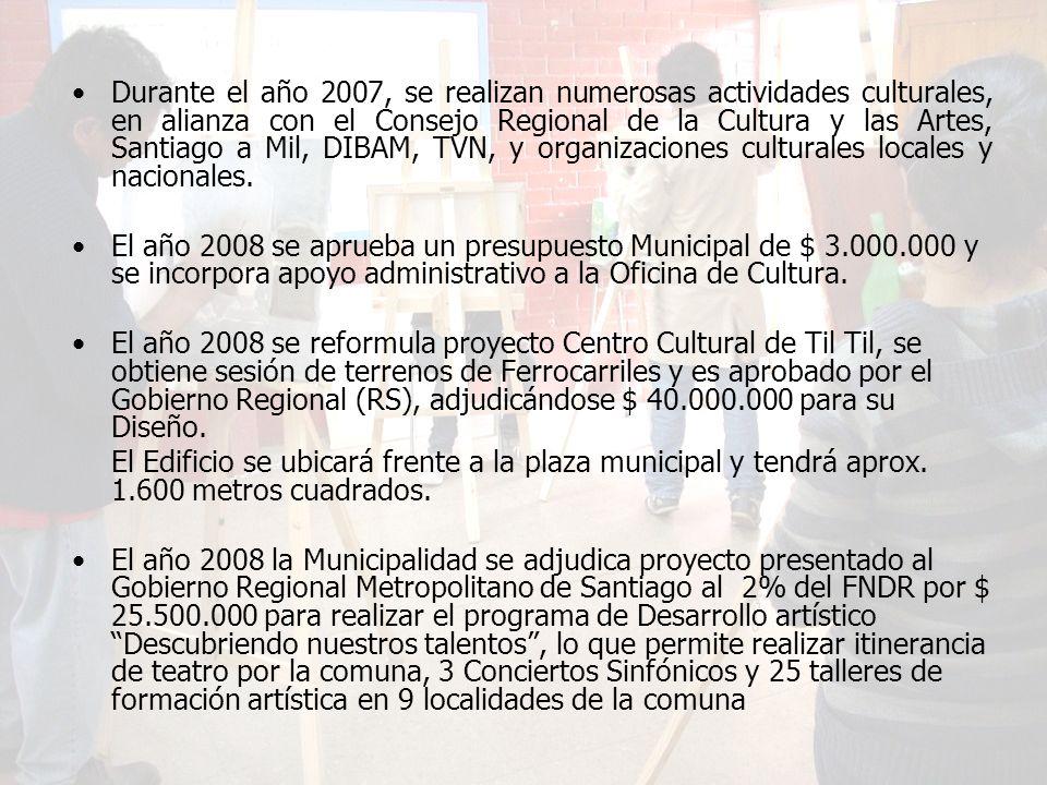 Durante el año 2007, se realizan numerosas actividades culturales, en alianza con el Consejo Regional de la Cultura y las Artes, Santiago a Mil, DIBAM