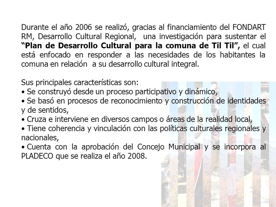 Durante el año 2006 se realizó, gracias al financiamiento del FONDART RM, Desarrollo Cultural Regional, una investigación para sustentar el Plan de De