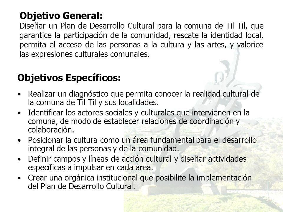 Objetivos Específicos: Realizar un diagnóstico que permita conocer la realidad cultural de la comuna de Til Til y sus localidades. Identificar los act