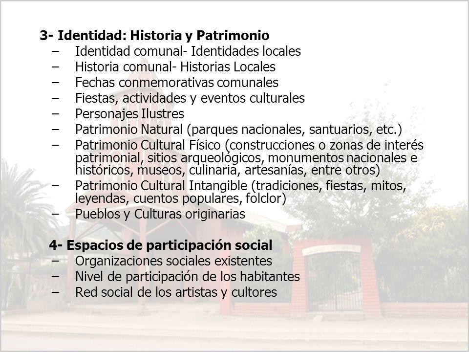 3- Identidad: Historia y Patrimonio –Identidad comunal- Identidades locales –Historia comunal- Historias Locales –Fechas conmemorativas comunales –Fie
