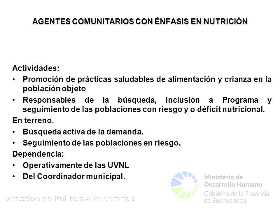 AGENTES COMUNITARIOS CON ÉNFASIS EN NUTRICIÓN Actividades: Promoción de prácticas saludables de alimentación y crianza en la población objeto Responsables de la búsqueda, inclusión a Programa y seguimiento de las poblaciones con riesgo y o déficit nutricional.