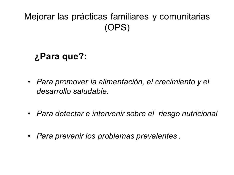 Mejorar las prácticas familiares y comunitarias (OPS) ¿Para que?: Para promover la alimentación, el crecimiento y el desarrollo saludable. Para detect