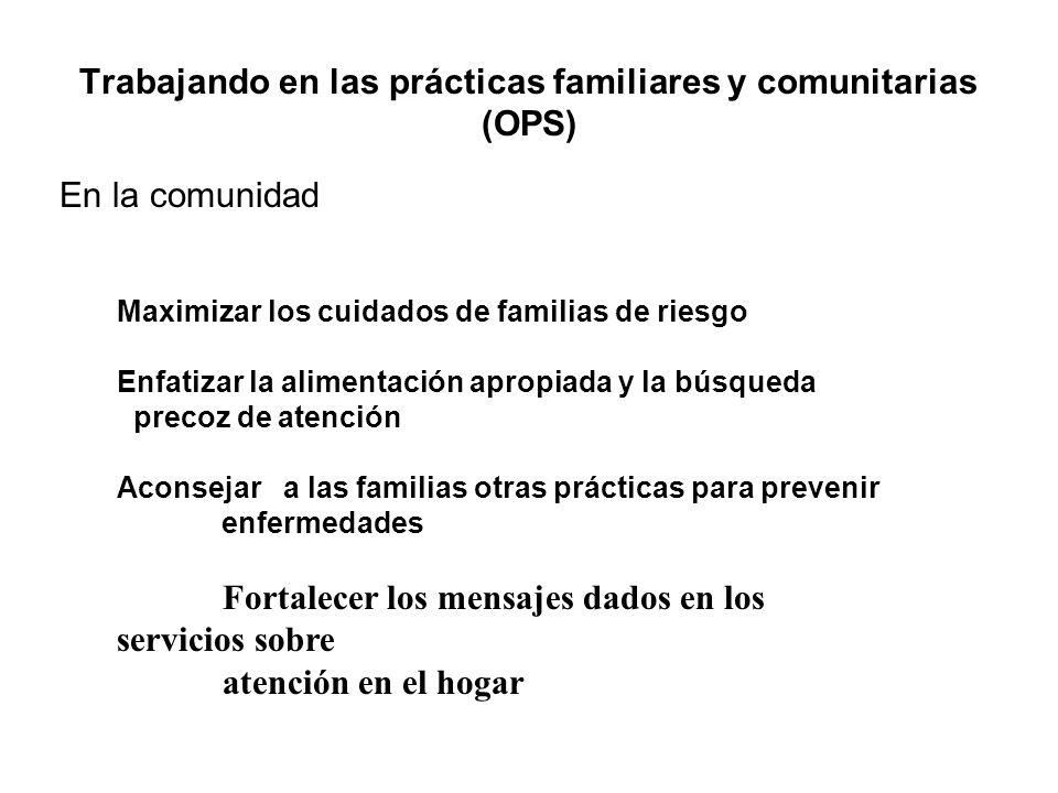 Trabajando en las prácticas familiares y comunitarias (OPS) En la comunidad Maximizar los cuidados de familias de riesgo Enfatizar la alimentación apr