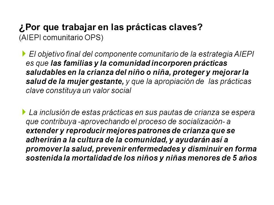 ¿ Por que trabajar en las prácticas claves? (AIEPI comunitario OPS) El objetivo final del componente comunitario de la estrategia AIEPI es que las fam