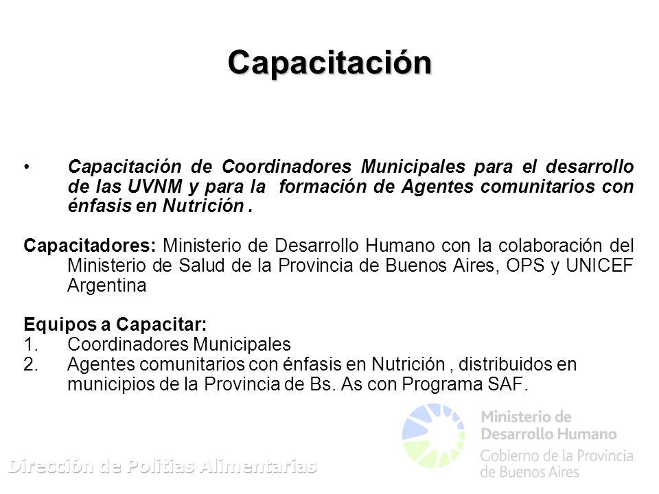 Capacitación Capacitación de Coordinadores Municipales para el desarrollo de las UVNM y para la formación de Agentes comunitarios con énfasis en Nutrición.
