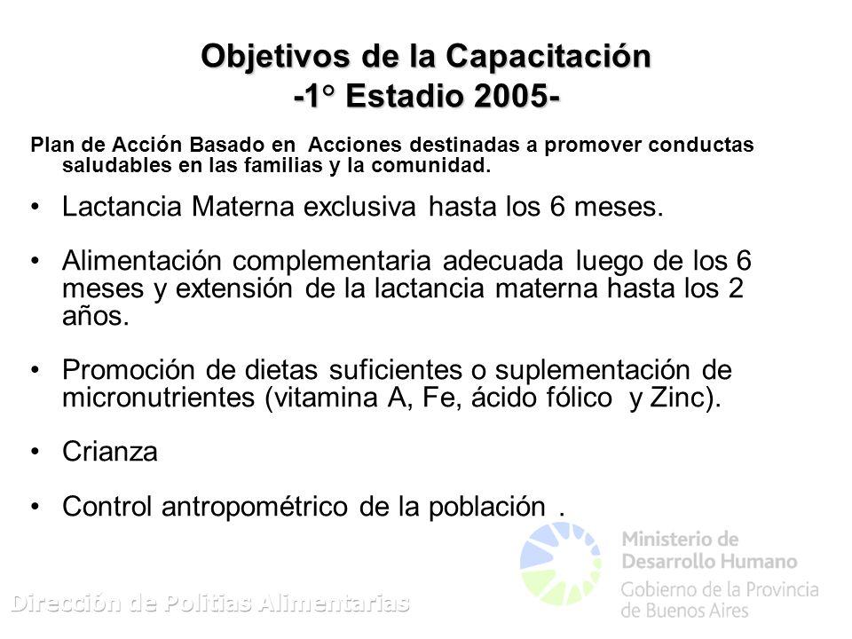 Objetivos de la Capacitación -1° Estadio 2005- Plan de Acción Basado en Acciones destinadas a promover conductas saludables en las familias y la comunidad.