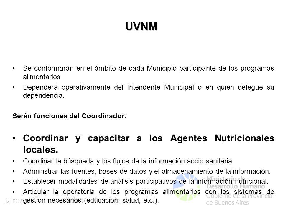 UVNM Se conformarán en el ámbito de cada Municipio participante de los programas alimentarios. Dependerá operativamente del Intendente Municipal o en