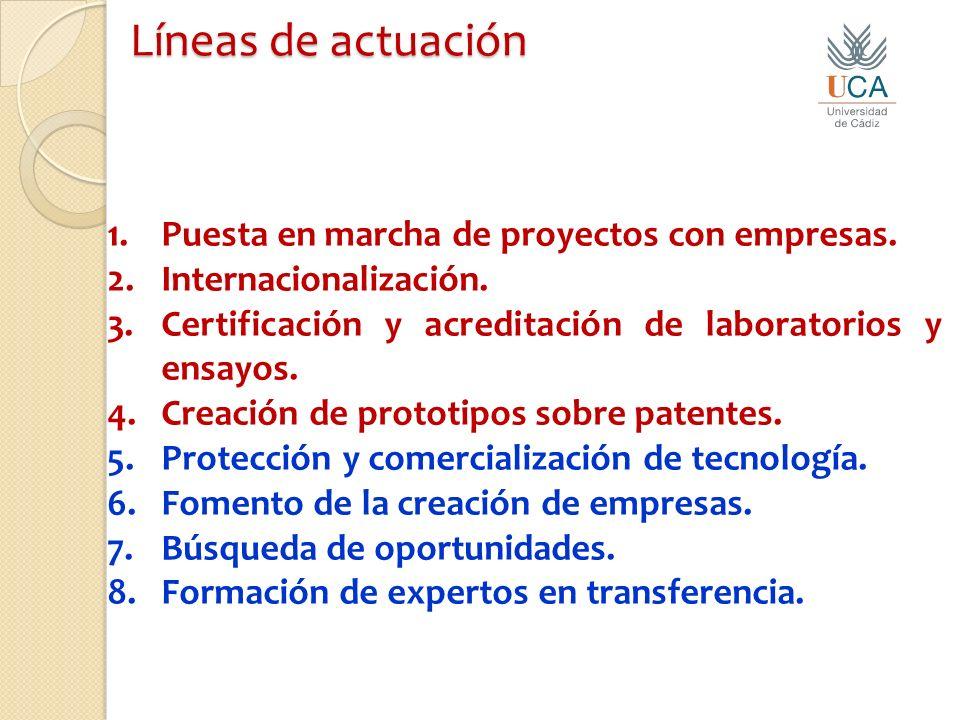 Líneas de actuación 1.Puesta en marcha de proyectos con empresas.