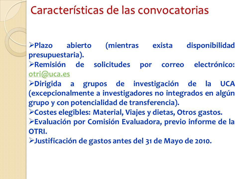 Características de las convocatorias Plazo abierto (mientras exista disponibilidad presupuestaria).