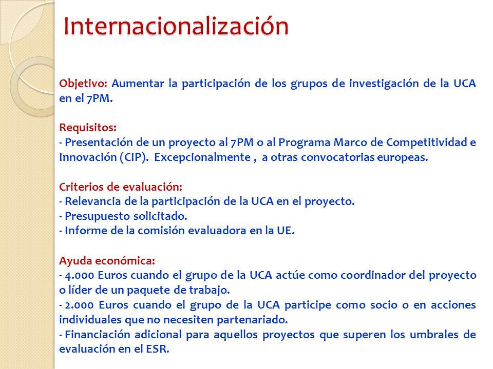 Internacionalización Objetivo: Aumentar la participación de los grupos de investigación de la UCA en el 7PM.