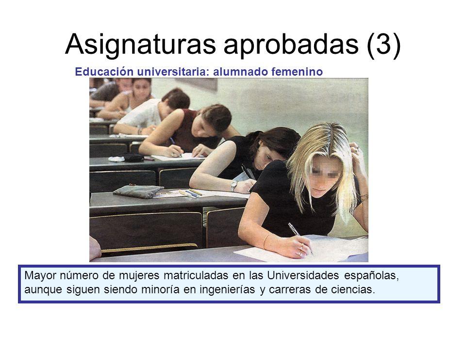 Asignaturas aprobadas (3) Educación universitaria: alumnado femenino Mayor número de mujeres matriculadas en las Universidades españolas, aunque siguen siendo minoría en ingenierías y carreras de ciencias.
