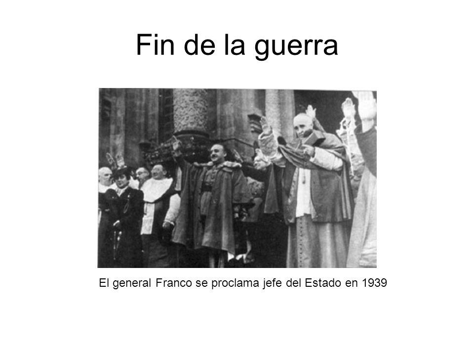 Fin de la guerra El general Franco se proclama jefe del Estado en 1939