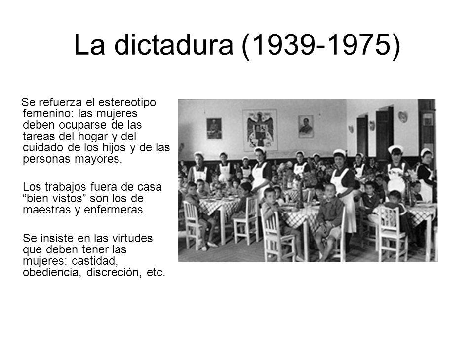 La dictadura (1939-1975) Se refuerza el estereotipo femenino: las mujeres deben ocuparse de las tareas del hogar y del cuidado de los hijos y de las personas mayores.