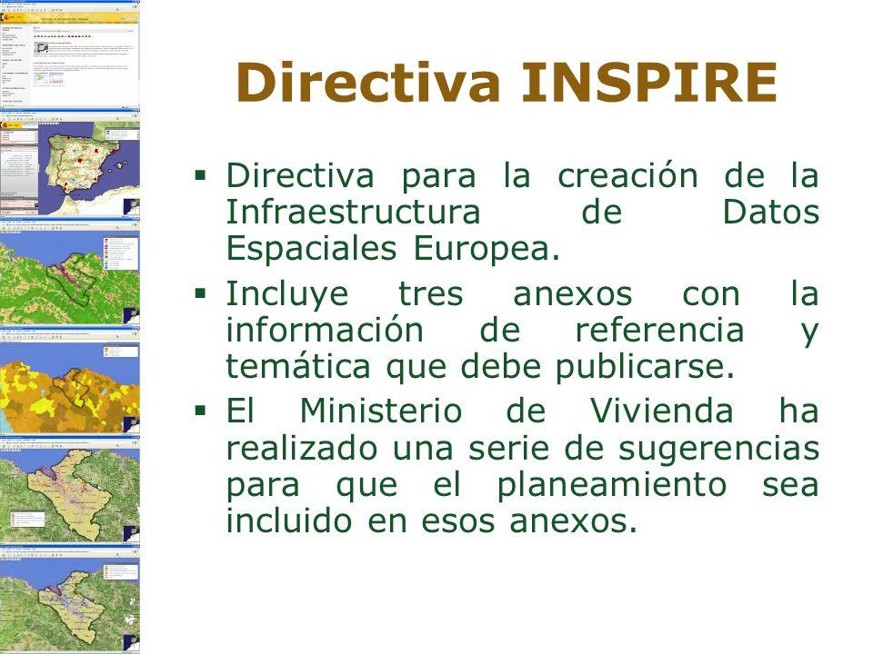 Directiva INSPIRE Directiva para la creación de la Infraestructura de Datos Espaciales Europea. Incluye tres anexos con la información de referencia y