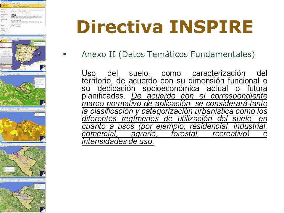 Directiva INSPIRE Anexo II (Datos Temáticos Fundamentales) Uso del suelo, como caracterización del territorio, de acuerdo con su dimensión funcional o