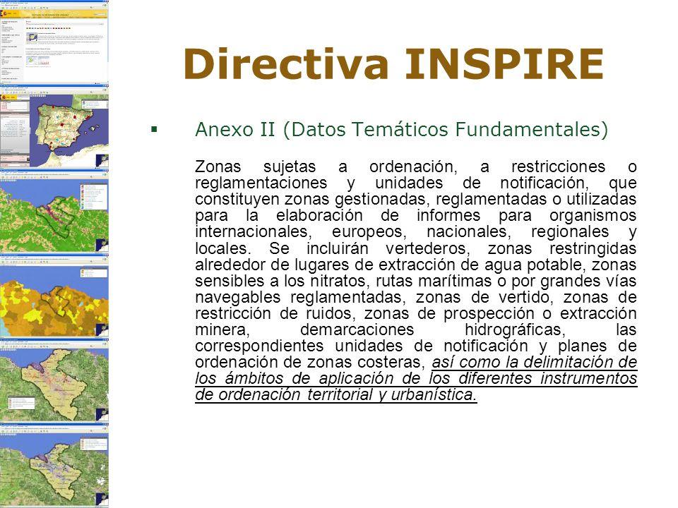 Directiva INSPIRE Anexo II (Datos Temáticos Fundamentales) Zonas sujetas a ordenación, a restricciones o reglamentaciones y unidades de notificación,