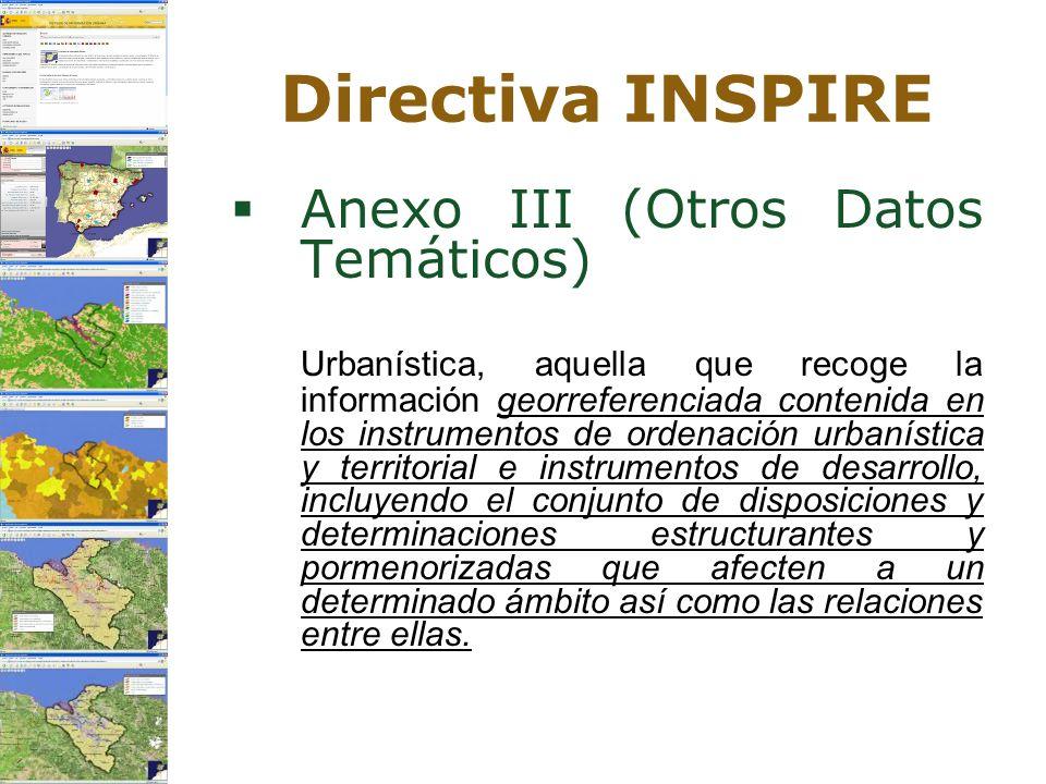 Directiva INSPIRE Anexo III (Otros Datos Temáticos) Urbanística, aquella que recoge la información georreferenciada contenida en los instrumentos de o