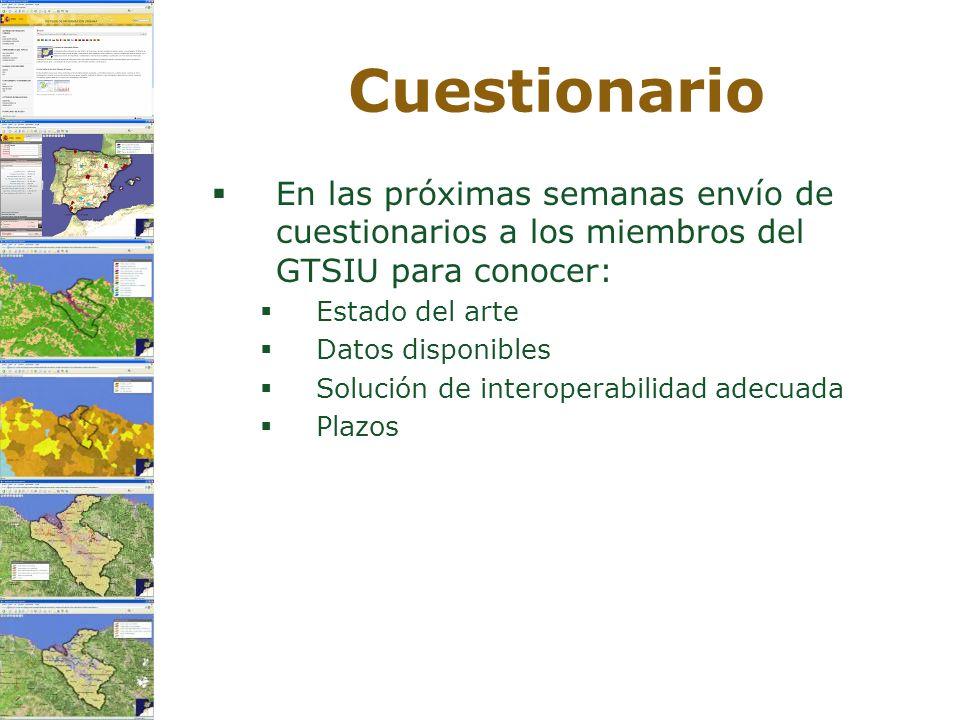 Cuestionario En las próximas semanas envío de cuestionarios a los miembros del GTSIU para conocer: Estado del arte Datos disponibles Solución de inter