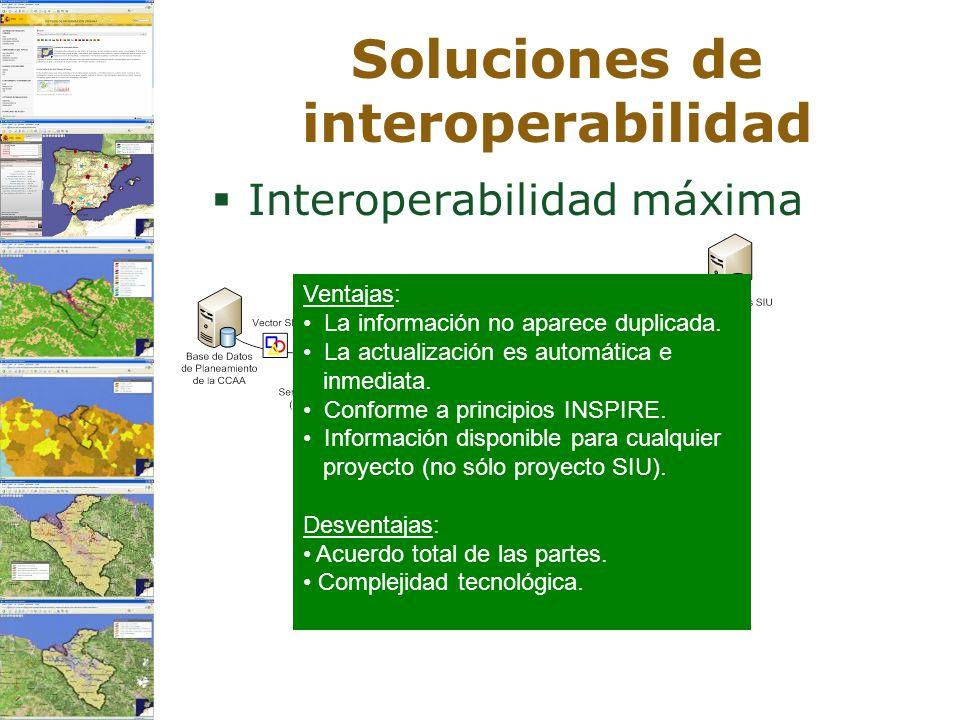 Soluciones de interoperabilidad Interoperabilidad máxima Ventajas: La información no aparece duplicada. La actualización es automática e inmediata. Co