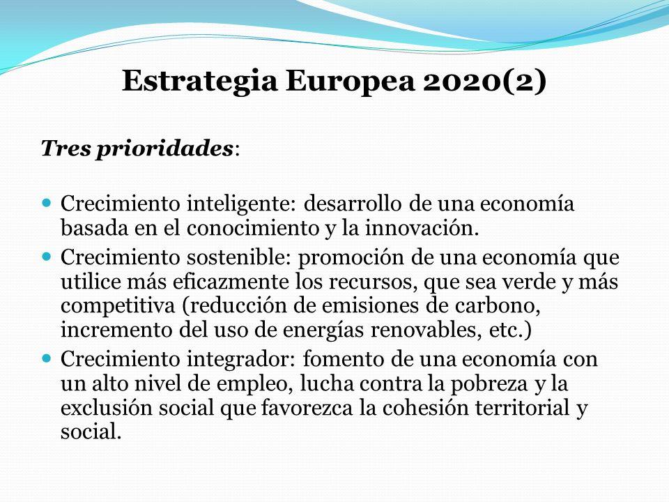 Estrategia Europea 2020(2) Tres prioridades: Crecimiento inteligente: desarrollo de una economía basada en el conocimiento y la innovación. Crecimient