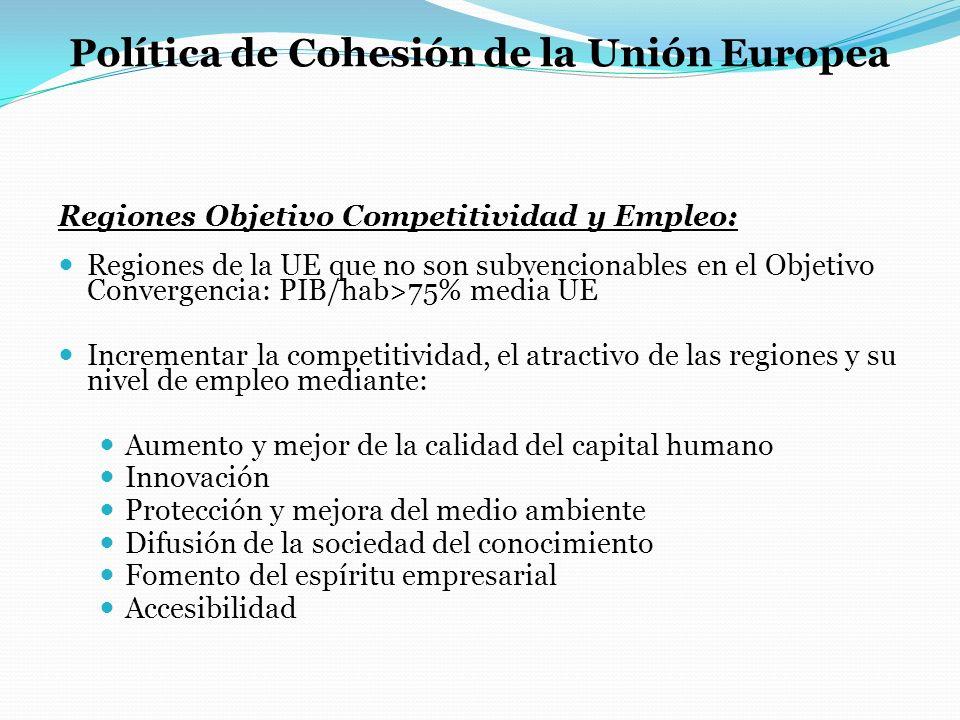 Política de Cohesión de la Unión Europea Regiones Objetivo Competitividad y Empleo: Regiones de la UE que no son subvencionables en el Objetivo Conver