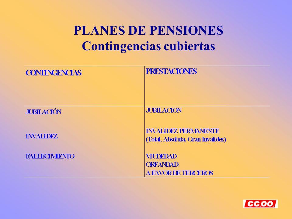 PLANES DE PENSIONES Contingencias cubiertas