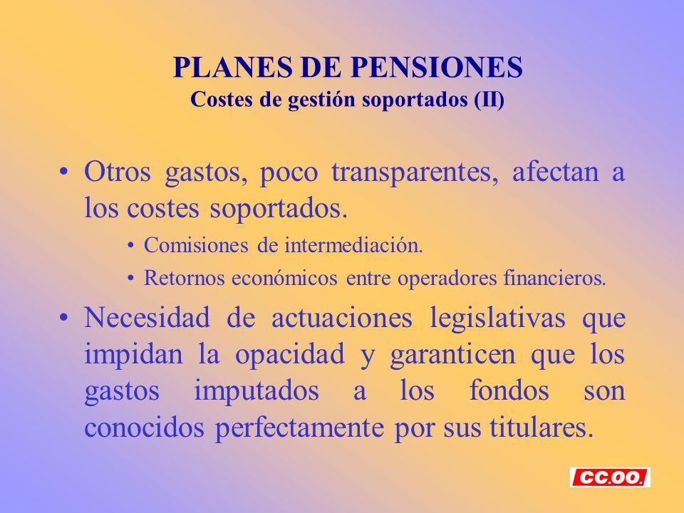 PLANES DE PENSIONES Costes de gestión soportados (II) Otros gastos, poco transparentes, afectan a los costes soportados. Comisiones de intermediación.