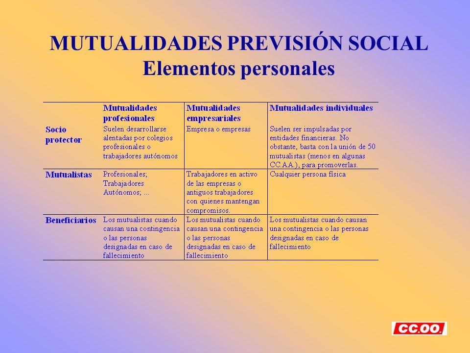 MUTUALIDADES PREVISIÓN SOCIAL Elementos personales