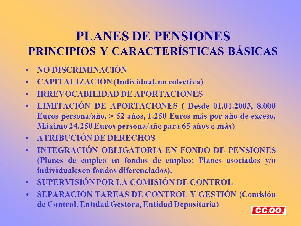 PLANES DE PENSIONES PRINCIPIOS Y CARACTERÍSTICAS BÁSICAS NO DISCRIMINACIÓN CAPITALIZACIÓN (Individual, no colectiva) IRREVOCABILIDAD DE APORTACIONES L