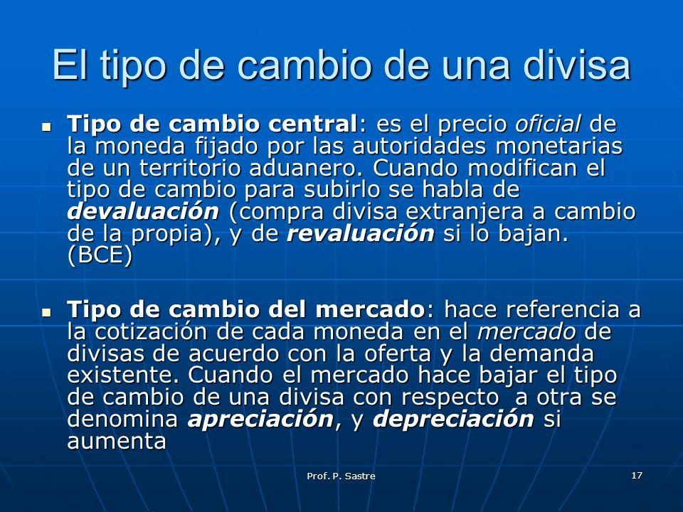 Prof. P. Sastre 17 El tipo de cambio de una divisa Tipo de cambio central: es el precio oficial de la moneda fijado por las autoridades monetarias de
