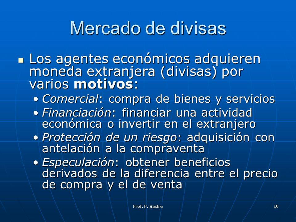 Prof. P. Sastre 18 Mercado de divisas Los agentes económicos adquieren moneda extranjera (divisas) por varios motivos: Los agentes económicos adquiere