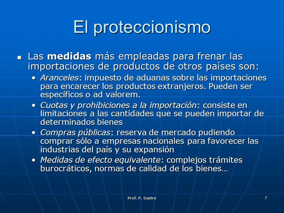 Prof. P. Sastre 7 El proteccionismo Las medidas más empleadas para frenar las importaciones de productos de otros países son: Las medidas más empleada